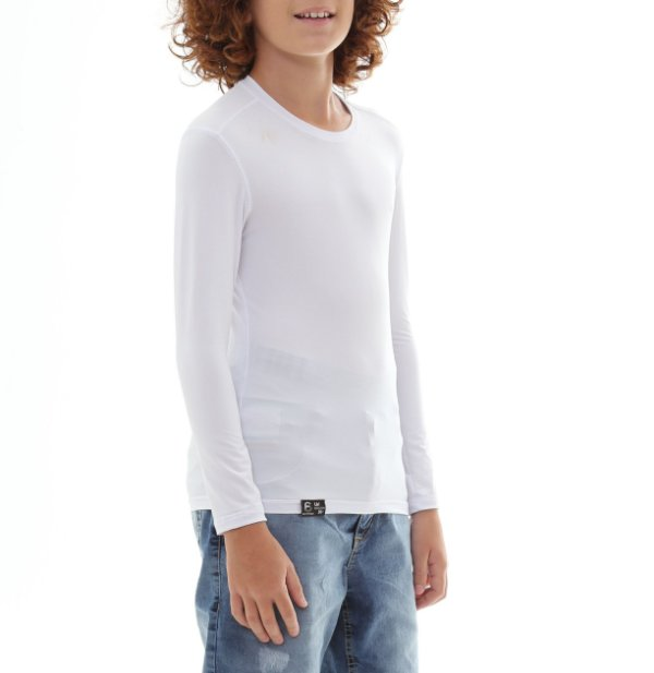 Camiseta Infantil Proteção Solar Uv50 - Branco - Slim Fitness