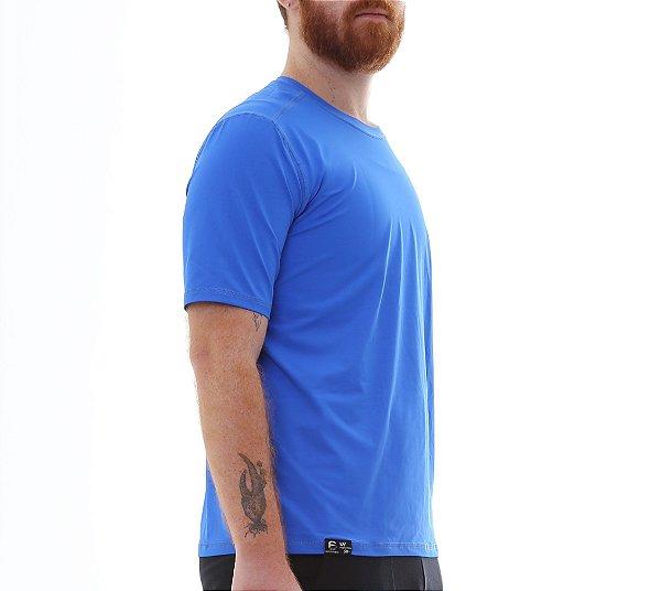 Camiseta Masculina Proteção Solar Uv50 Manga Curta - Azul Royal - Slim Fitness