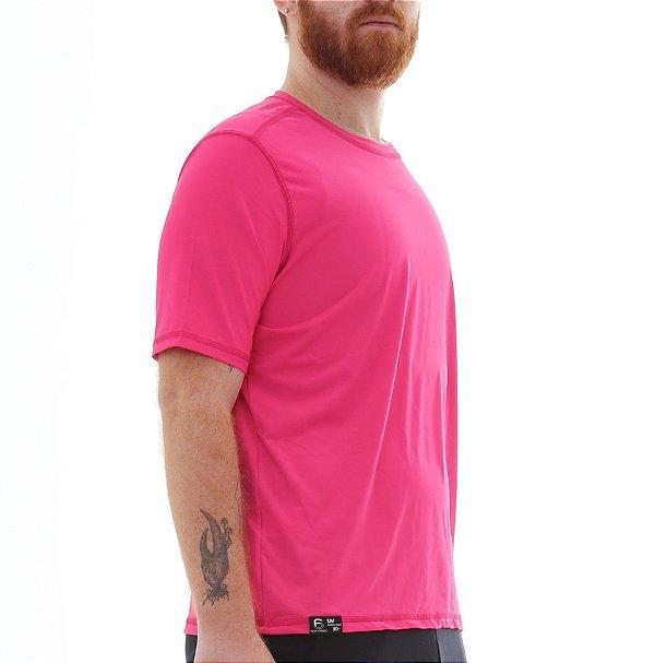 Camiseta Masculina Proteção Solar Uv50 Manga Curta - Fúcsia - Slim Fitness