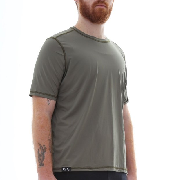 Camiseta Masculina Proteção Solar Uv50 Manga Curta - Verde Escuro - Slim Fitness