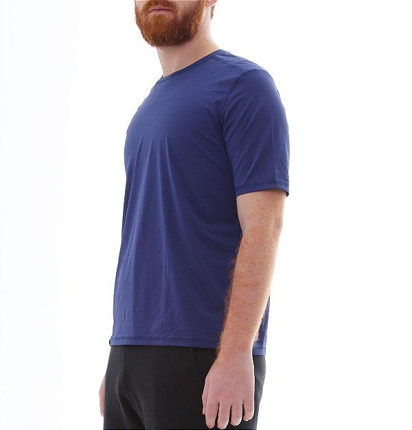 Camiseta Masculina Proteção Solar Uv50 Manga Curta - Azul Marinho - Slim Fitness