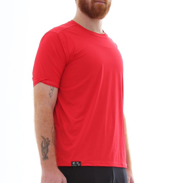 Camiseta Masculina Proteção Solar Uv50 Manga Curta - Vermelho - Slim Fitness