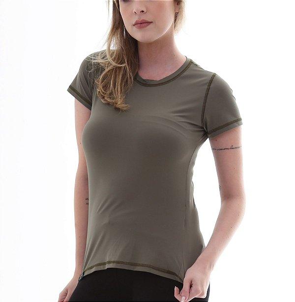 Camiseta Feminina Proteção Solar UV50+ Manga Curta - Verde Escuro - Slim Fitness