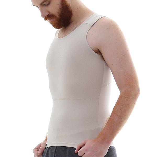 Cinta Modeladora e Postural Masculina Light Compression Bodyshaper - Bege - Slim Fitness