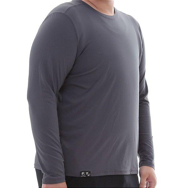 Camiseta Masculina Plus Size Proteção Solar Uv50 Manga Longa - Cinza - Slim Fitness