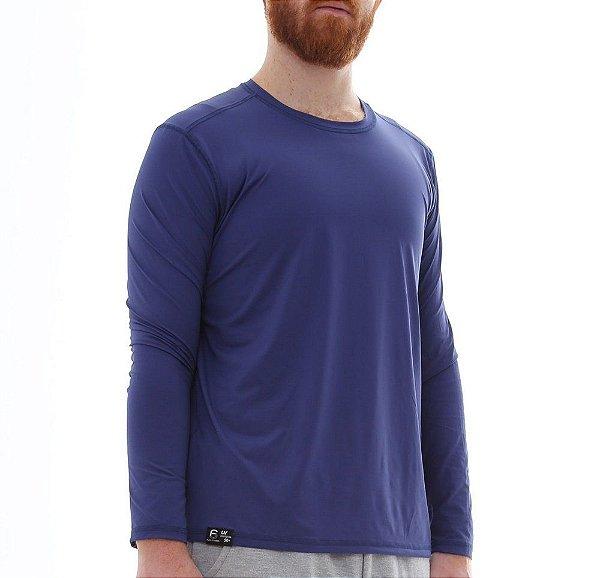 Camiseta Masculina Plus Size Proteção Solar Uv50 Manga Longa - Azul Marinho- Slim Fitness