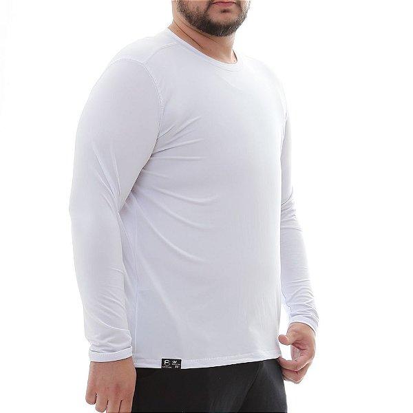 Camiseta Masculina Plus Size Proteção Solar Uv50 Manga Longa - Branco - Slim Fitness