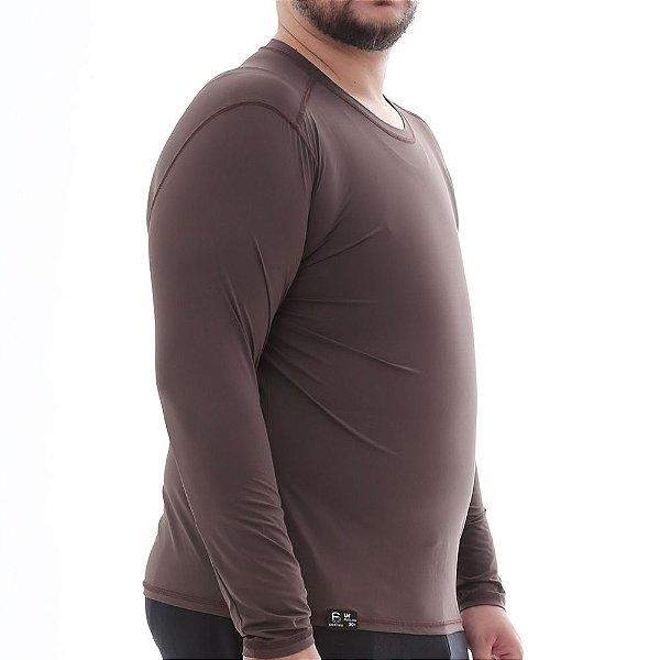 Camiseta Masculina Plus Size Proteção Solar Uv50 Manga Longa - Marrom - Slim Fitness