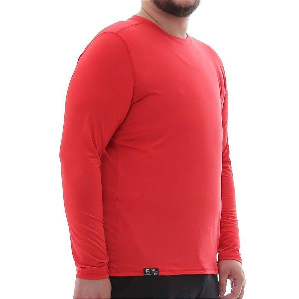Camiseta Masculina Plus Size Proteção Solar Uv50 Manga Longa - Vermelho - Slim Fitness