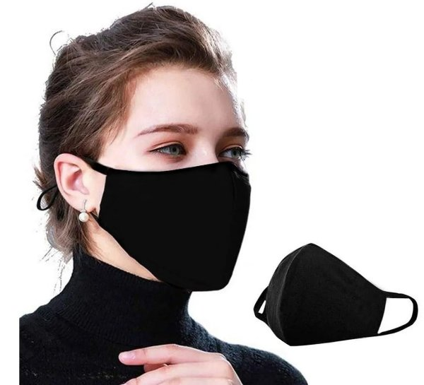 Kit com 30 Máscaras Faciais Tecido Proteção Contra Vírus e Bactérias - Preta - Slim Fitness