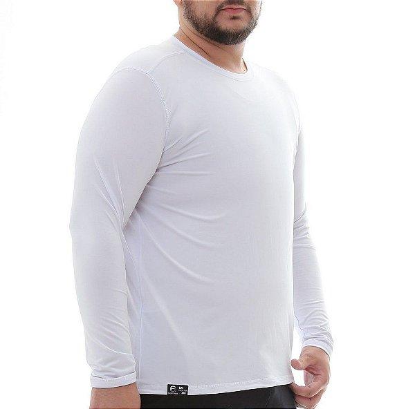Camiseta Masculina Proteção Solar Uv50 Manga Longa Light - Branco - Slim Fitness