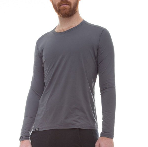 Camiseta Masculina Proteção Solar Uv50 Manga Longa Light - Cinza - Slim Fitness