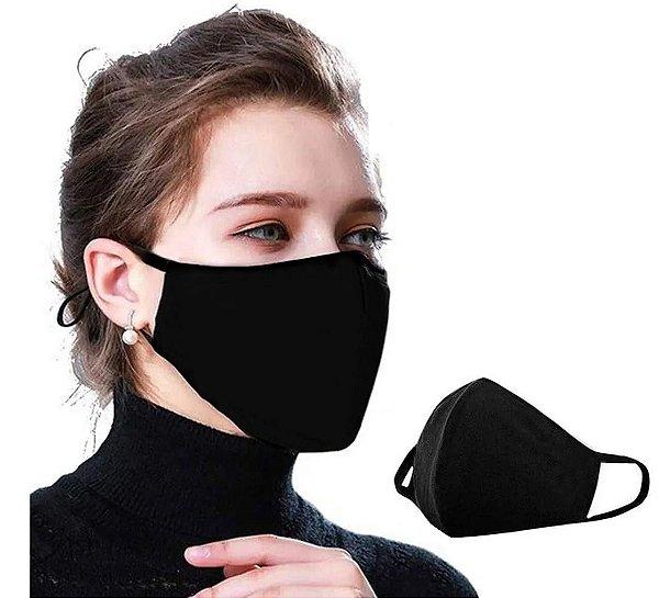 Kit com 09 Máscaras Faciais Tecido Proteção Contra Vírus e Bactérias - Preta - Slim Fitness