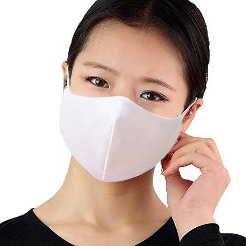 Kit com 05 Máscaras Faciais Tecido Proteção Contra Vírus e Bactérias - Branca - Slim Fitness