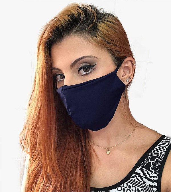 Kit com 05 Máscaras Faciais Tecido Proteção Contra Vírus e Bactérias - Azul Marinho - Slim Fitness