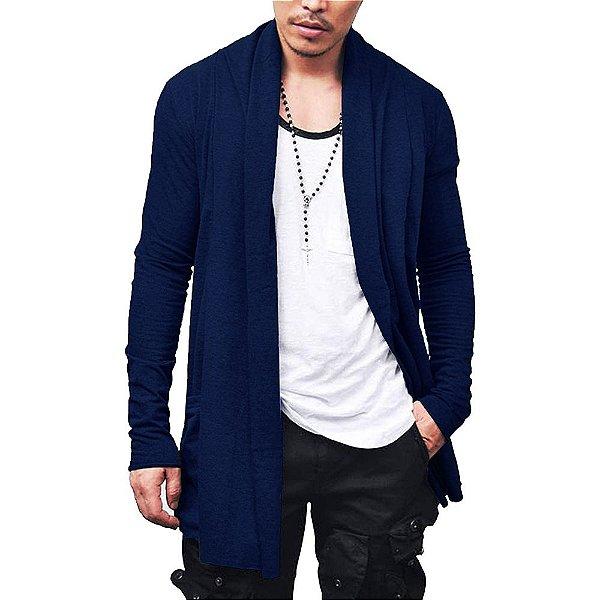 Cardigan Blusa de Frio Sobretudo Masculino - Slim Fitness - Azul Marinho