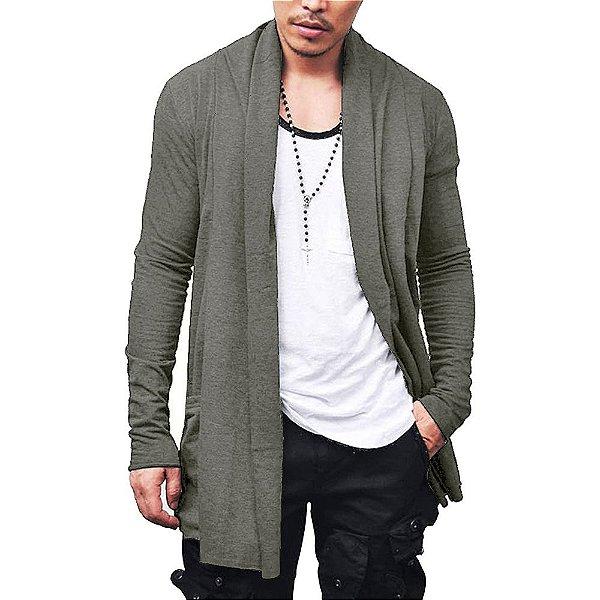 Cardigan Blusa de Frio Sobretudo Masculino - Slim Fitness - Bege Escuro