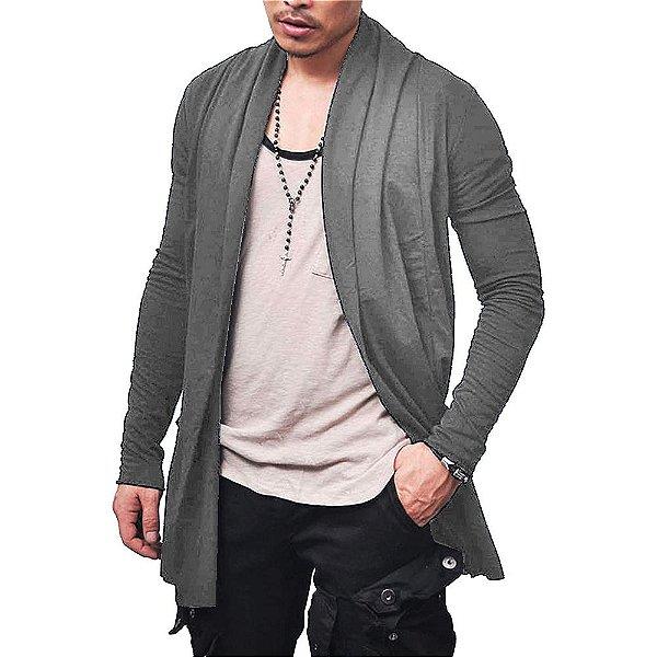 Cardigan Blusa de Frio Sobretudo Masculino - Slim Fitness - Chumbo