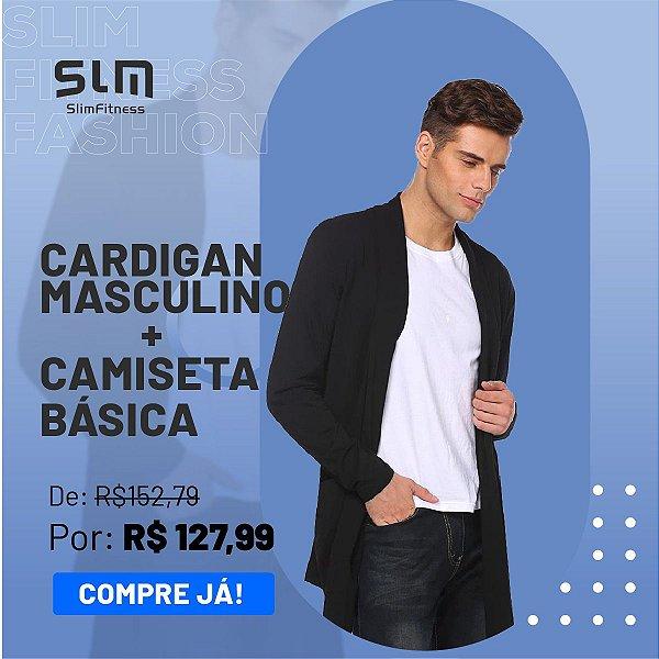 Kit - Cardigan Masculino + Camiseta Básica Algodão - Slim Fitness