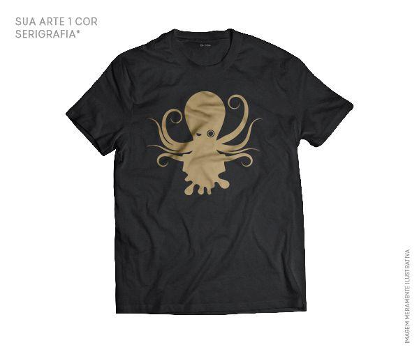 Camiseta Preta Personalizada Bla Artes - 100% Algodão - Sua Arte uma Cor