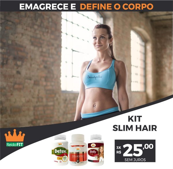 Kit Emagrecedor Slim Hair® Detox Life + Colágeno c/ Vitamina C + Belly Hair - Emagrece e Cuida da Pele, Cabelos e Unhas - 180 Cápsulas 🔥