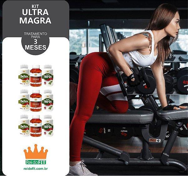 Kit Emagrecedor Ultra Magra® Tratamento Completo de 3 Meses c/ 3 Detox Life + 3 Cafés Verdes + 3 Cártamos - 9 Potes c/ 540 Cápsulas