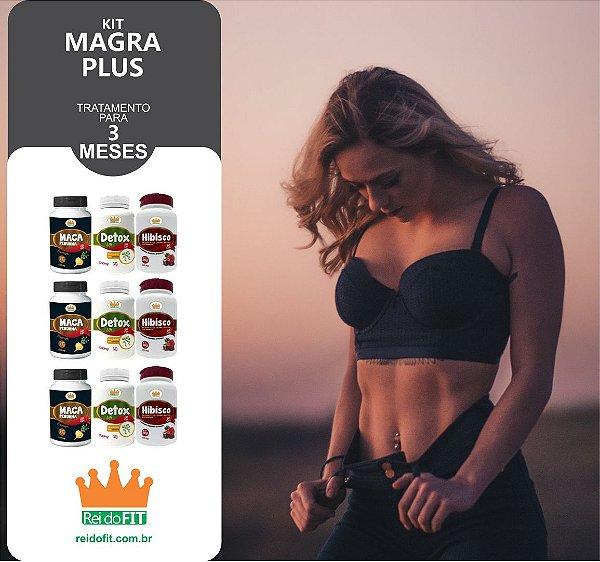 Kit Emagrecedor Magra Plus® Tratamento Completo de 3 Meses c/ 3 Detox Life + 3 Macas Peruanas + 3 Hibiscos - 9 Potes c/ 540 Cápsulas