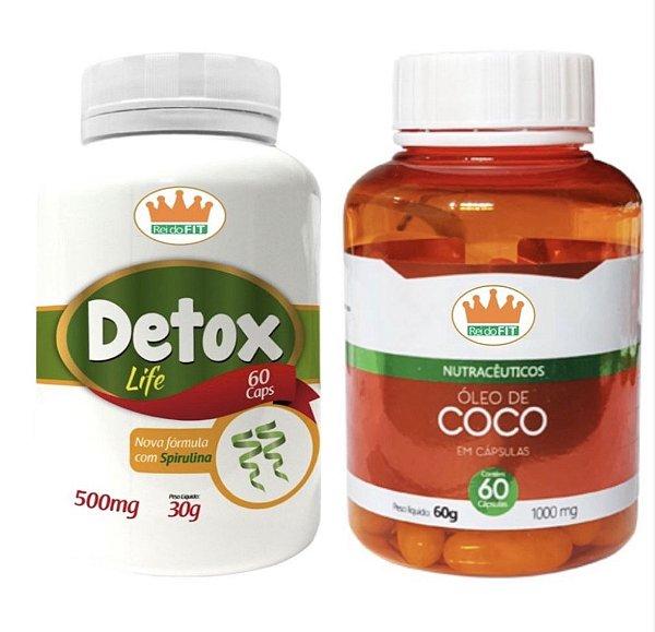 Emagrecedor Premium® - Detox Life 500mg + Óleo de Coco 1000mg c/ 120 Cápsulas