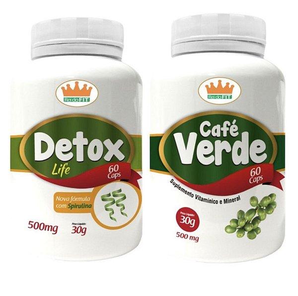 Emagrecedor Termogênico® Detox Life 500mg + Café Verde 500mg - 2 Potes c/ 120 Cápsulas 🔥