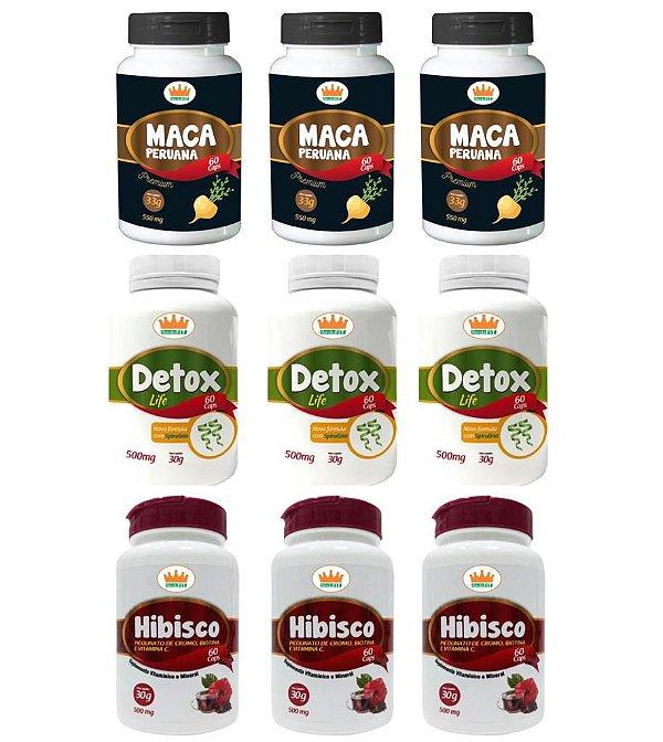 Emagrecedor Magra Plus® Você Magra em 3 Meses c/ 3 Detox Life + 3 Macas Peruanas + 3 Hibiscos - 9 Potes c/ 540 Cápsulas 🔥