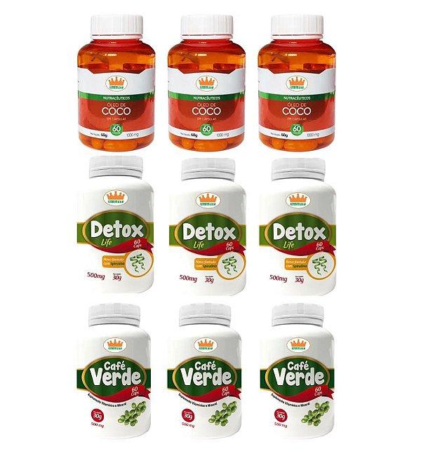 Emagrecedor Termogênico Premium® Você Magra em 3 Meses c/ 3 Detox Life + 3 Cafés Verdes + 3 Cocos - 9 Potes c/ 540 Cápsulas 🔥