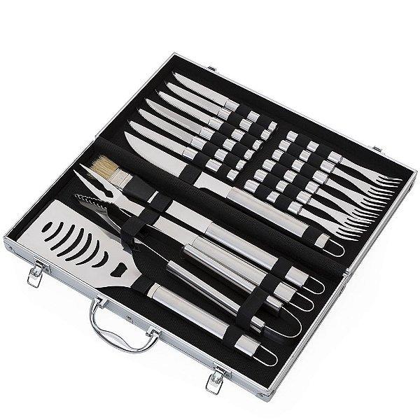 Kit churrasco 17 peças em maleta de alumínio com relevo