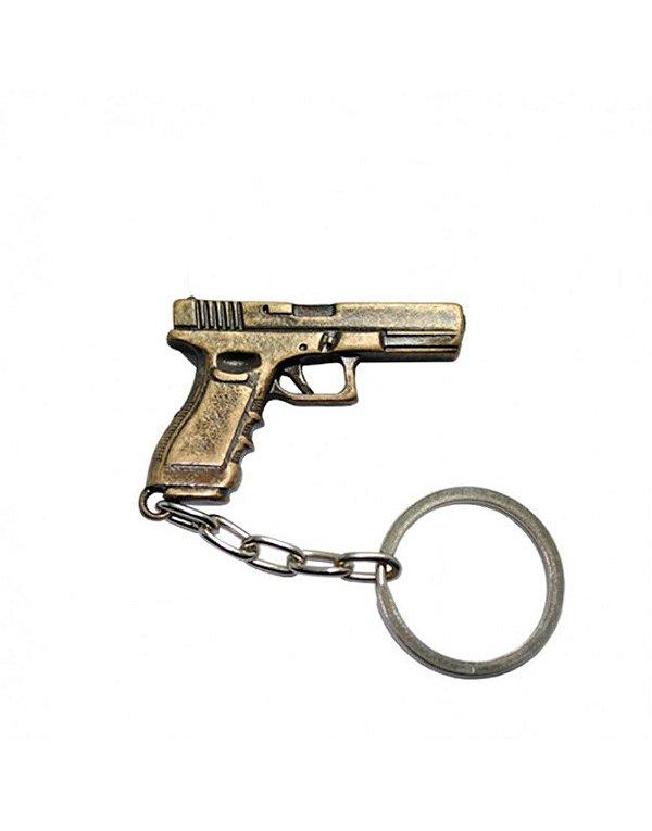 Chaveiro Pistola Glock - Dourado