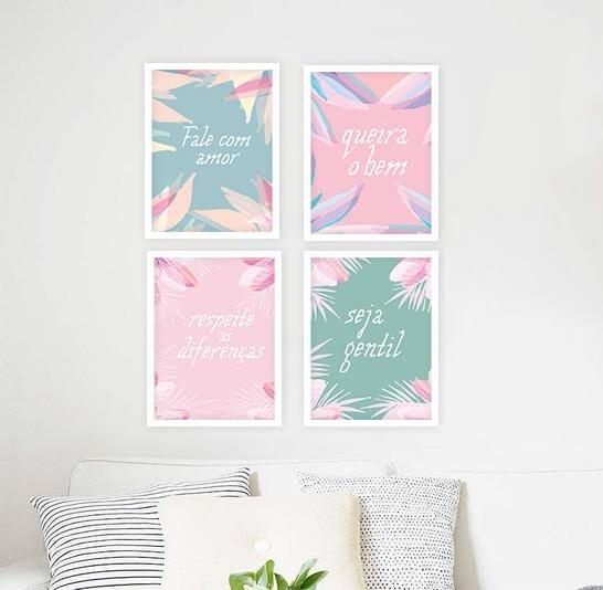 KIT 4 QUADROS DECORATIVOS AMOR