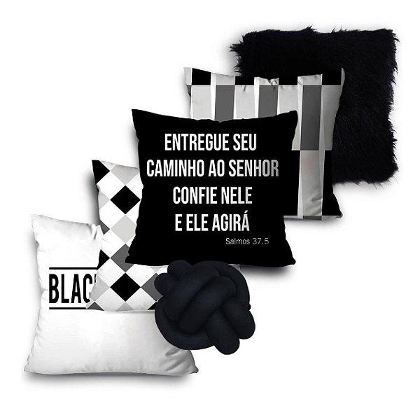 KIT 5 ALMOFADAS OU CAPAS E 01 NÓ BLACK AND WHITE