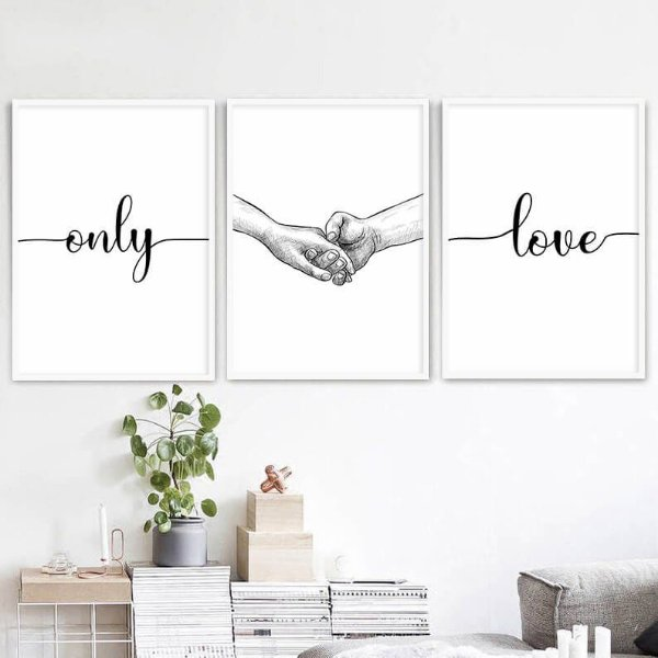 KIT 3 QUADROS DECORATIVOS ONLY LOVE