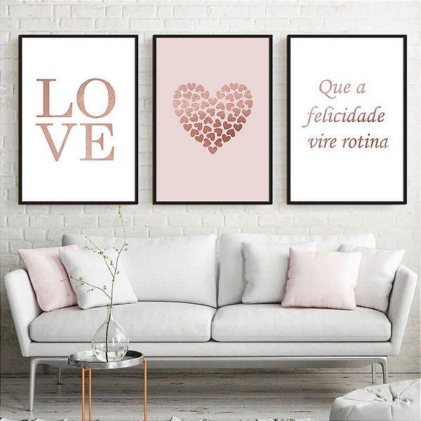 KIT 3 QUADROS DECORATIVOS LOVE