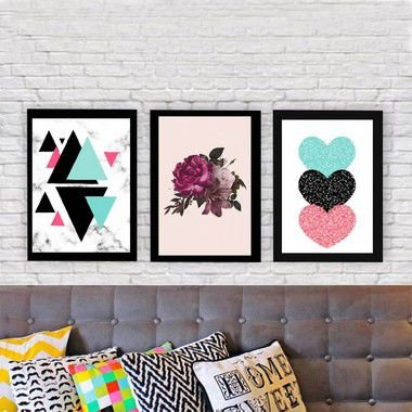 KIT 3 QUADROS DECORATIVOS MIMO LOVE