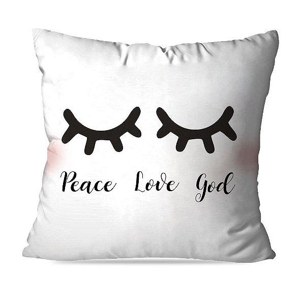 ALMOFADA OU CAPA PEACE LOVE GOD