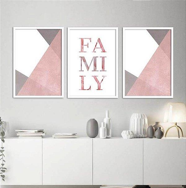 KIT 3 QUADROS DECORATIVOS FAMILY