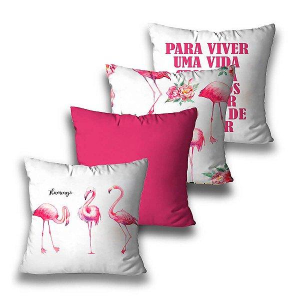 KIT 4 CAPAS DE ALMOFADAS FLAMINGO ROSA PINK