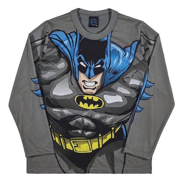 Camiseta Manga Longa Batman Cinza