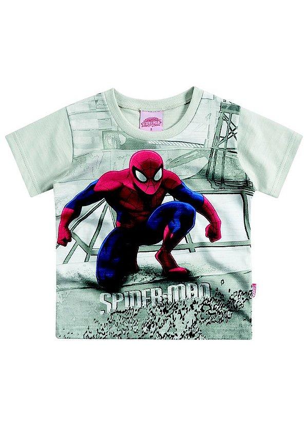 Camiseta Manga Curta Branca Homem Aranha
