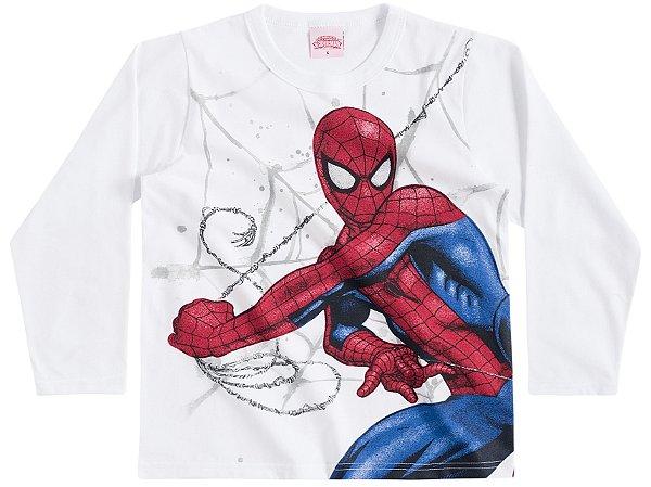 Camiseta Manga Longa Branca Homem Aranha