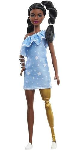 Boneca Barbie Fashionista 146 Negra, Perna Protética Dourada