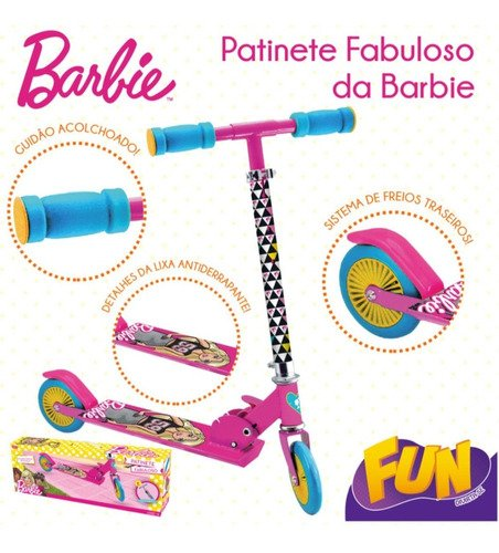 Patinete Fabuloso Dobrável Magico Da Barbie Com 2 Rodas