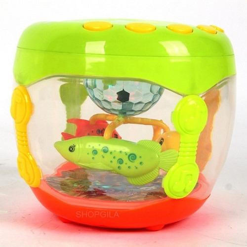 Brinquedo Infantil Aquário Musical Tambor Som E Luz Musical
