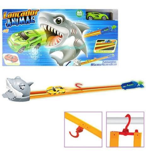 Pista De Carrinhos C/ Lançador Tubarão Brilha No Escuro