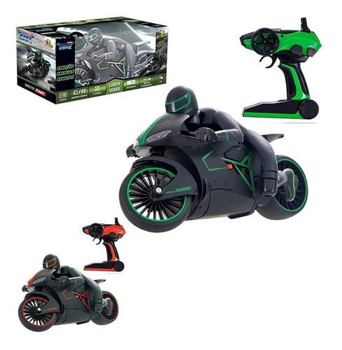 Moto De Controle Remoto 7 Funções Bateria Com Luz Crazon - Verde