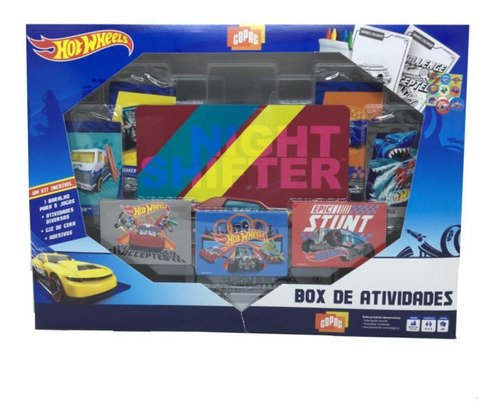 Box De Atividade Hot Wheels - Jogo Colorir Pintar C Giz Cera